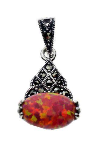 Silver Pendant Marcasite Pink