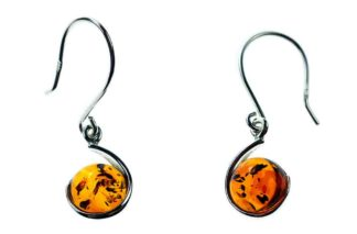 Silver Earring Amber Round