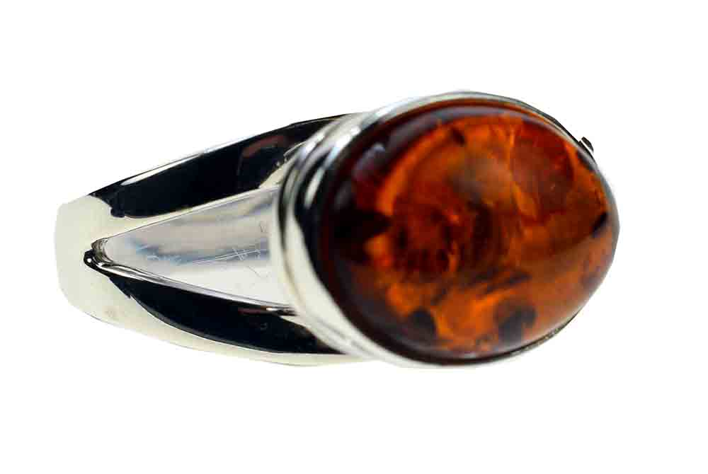 Silver Ring Amber Large Oval