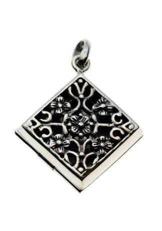 Silver Pendant Locket Square With Flowers