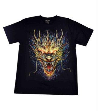 T-Shirt Medium Flaming Dragon