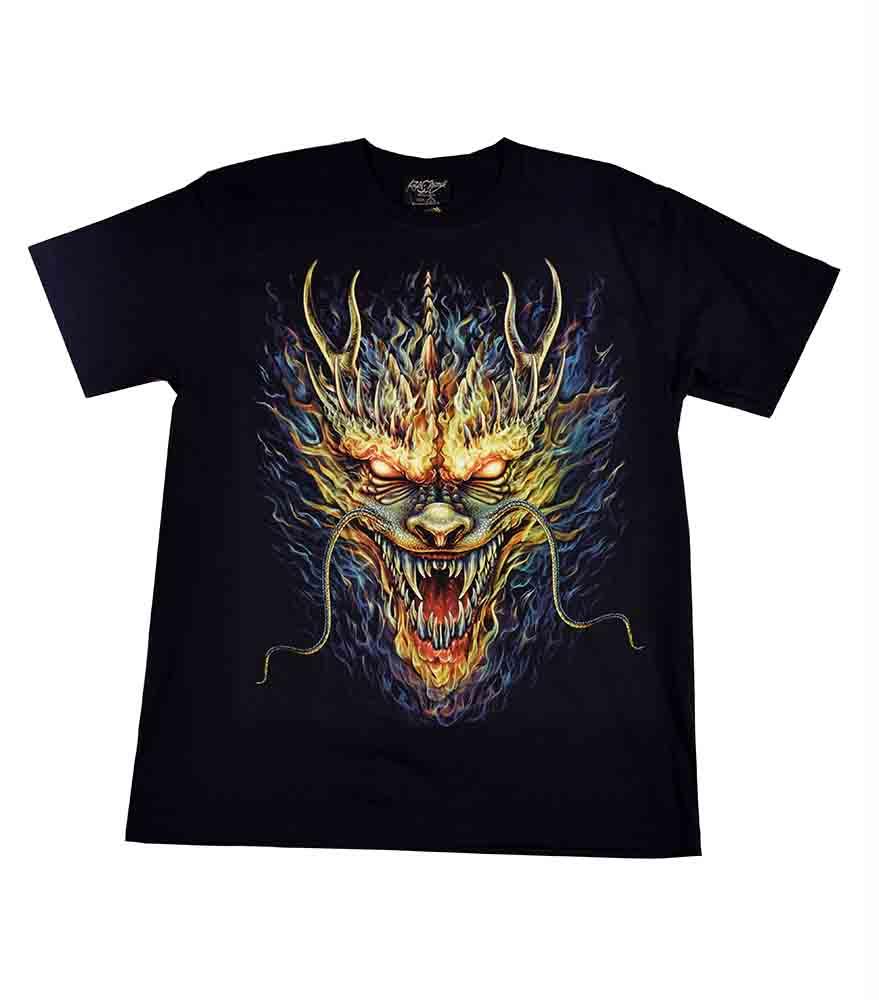 T-Shirt Large Flaming Dragon