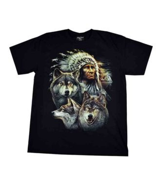 T-Shirt Large Indian Wolves