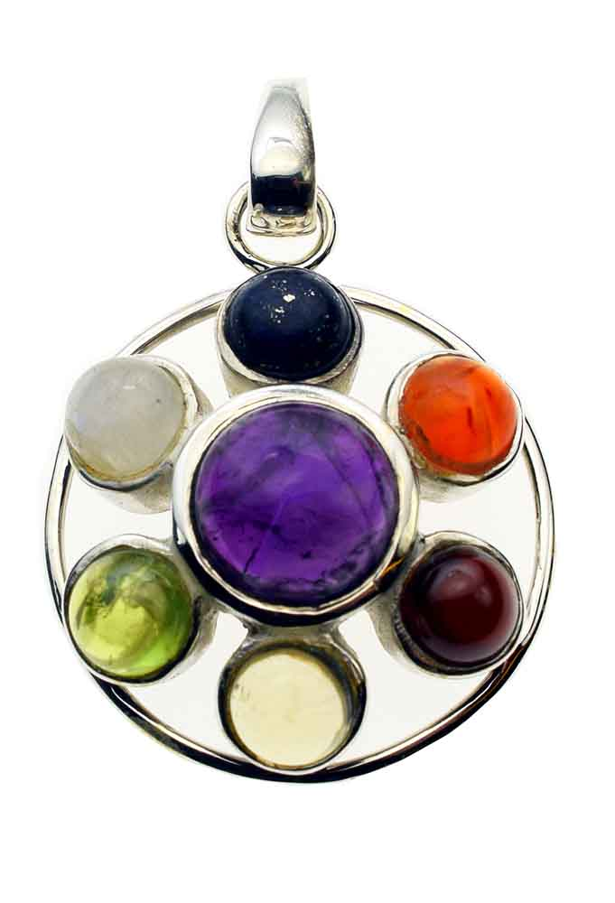 Pendant Silver 7 Stones Circle *2 For 1*