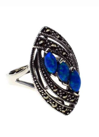 Silver Ring Marcasite Blue