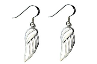 Silver Earring Wings Cut Style