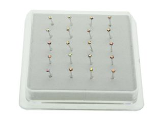 Nose Stud Silver AB Claw 20pcs