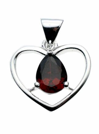 Silver Pendant Heart Red